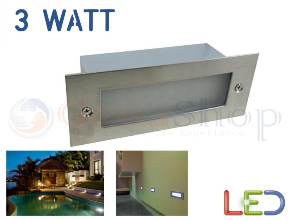 Segnapasso applique led 3w watt bianco freddo caldo blu verde for Led segnapasso