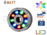 FARO PROIETTORE LED RGB DA IMMERSIONE FONTANA 6W WATT  IP68