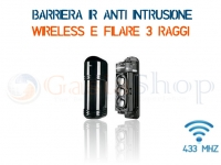 COPPIA BARRIERA IR WIRELESS E CABLATA 433 MHz DISTANZA 70 METRI 3 FASCI PET IMMUNE