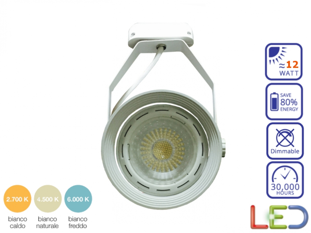 Portalampada con lampada led par30 e27 12 watt bianco for Portalampada led