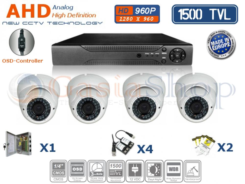 KIT VIDEOSORVEGLIANZA AHD DVR 4 CH 4 TELECAMERE DOME 1500 TVL 960P ALTA RISOLUZIONE