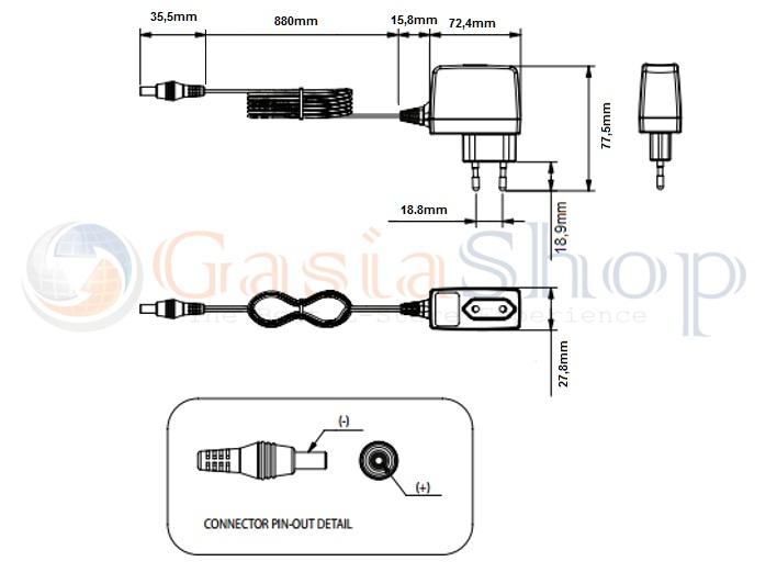 alimentatore switching 12v 1a per cctv telecamera circuito