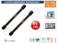 COPPIA BARRIERA INFRAROSSO ANTINTRUSIONE WIRELESS CABLATA 433 MHz