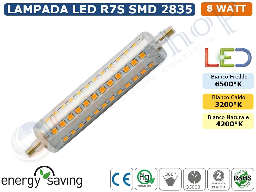 Lampadina led r7s smd 2835 8w watt bianco freddo bianco for Lampadine led 100 watt