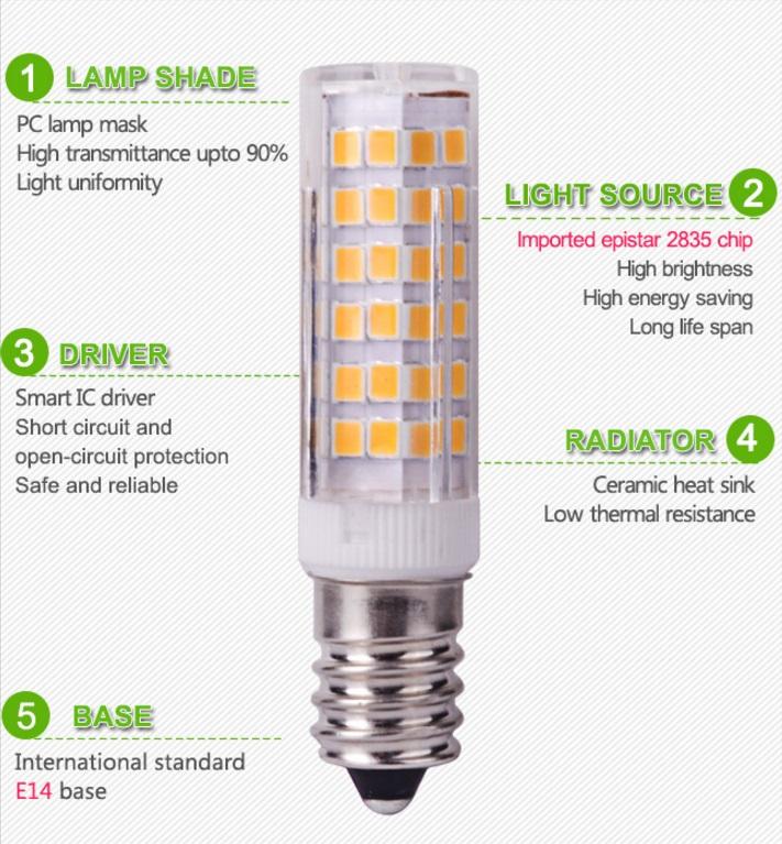 lampadina led smd 2835 e14 7w watt bianco freddo bianco caldo alta luminosita ebay. Black Bedroom Furniture Sets. Home Design Ideas