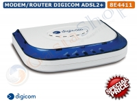 DIGICOM MODEM ROUTER ADSL2 + ETHERNET COMBO FINO A 24Mbit/s PC LINUX WINDOWS MAC