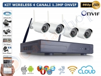 KIT VIDEOSORVEGLIANZA IP WIRELESS NVR 4 CH 4 TELECAMERE BULLET 1.3MP IR-CUT 960P