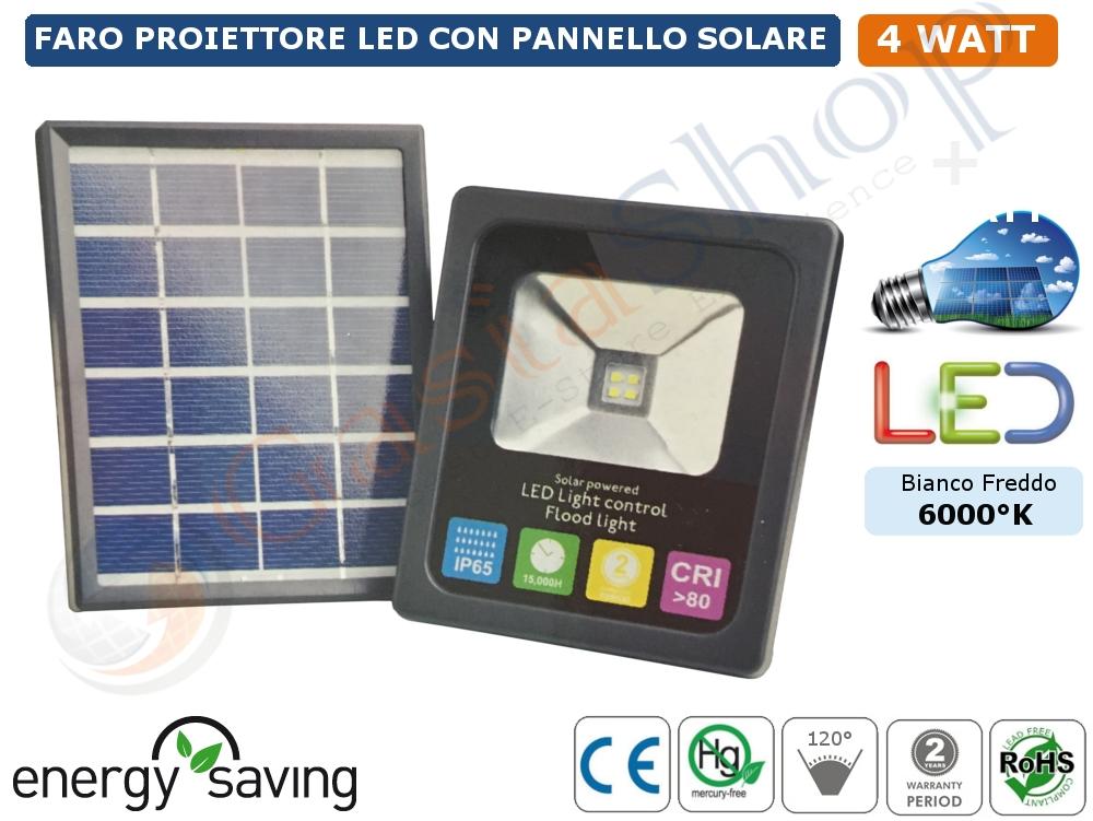Pannello Solare Con Cd : Faro faretto proiettore led w con pannello solare