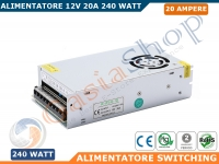 ALIMENTATORE STABILIZZATO SWITCHING TRIMMER 220V-12V 20A 240 WATT