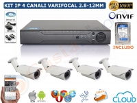 KIT VIDEOSORVEGLIANZA IP 2 MP 1080P 4 CANALI BULLET VARIFOCALI 2.8-12MM HD 500GB