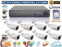 KIT VIDEOSORVEGLIANZA IP 2 MP 1080P 8 CANALI BULLET VARIFOCALI 2.8-12MM HD 500GB
