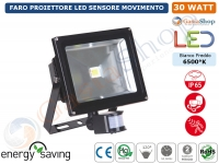 FARO FARETTO A LED 30 WATT CON SENSORE MOVIMENTO ALTA LUMINOSITA IP65 ESTERNO