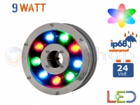FARO PROIETTORE LED RGB DA IMMERSIONE FONTANA 9W WATT  IP68