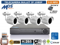 KIT VIDEOSORVEGLIANZA IP NVR 4 CH 4 BULLET 2 MP WIFI READY H.264 H.265 P2P XMEYE