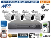 KIT VIDEOSORVEGLIANZA IP NVR 4 CH 4 BULLET 2 MP HARD DISK 1000GB H.264 H.265 P2P