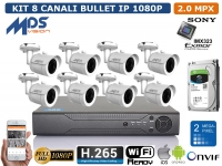 KIT VIDEOSORVEGLIANZA IP NVR 8 CH 8 BULLET 2 MP HARD DISK 1000GB H.264 H.265 P2P