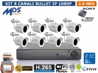 KIT VIDEOSORVEGLIANZA IP NVR 8 CH 8 BULLET 2 MP WIFI READY H.264 H.265 P2P XMEYE