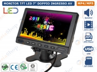"MONITOR TFT LED 7"" POLLICI CON TELECOMANDO DOPPIO INGRESSO VIDEO MP5 USB SD-CARD"