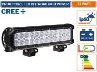 FARO LED CREE OFF ROAD LUCE DI LAVORO SUPPLEMENTARE 12V - 24V 72W IP68 JEEP