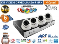KIT VIDEOSORVEGLIANZA AHD XVR 4 CANALI 4 DOME 2.8-12mm 5 MP UTC OSD XMEYE