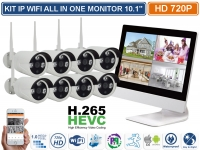 "KIT IP WIFI ALL IN ONE 8 CANALI MONITOR 10.1"" CON NVR INCORPORATO P2P H.265"