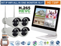 "KIT IP WIFI ALL IN ONE 4 CANALI MONITOR 10.1"" CON NVR INCORPORATO P2P H.265"