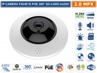 TELECAMERA IP FISHEYE 360° 2MPX ONVIF POE ALLARMI AUDIO SLOT SD-CARD WIFI P2P