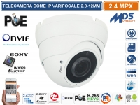 DOME IP 2 MPX VARIFOCALE 2,8-12 mm 1080P SD CARD ONVIF POE SONY IMX290 STARVIS