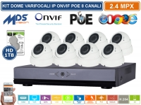 KIT VIDEOSORVEGLIANZA IP NVR 8 CANALI 8 DOME VARIFOCALI 2MP ONVIF POE HD 1000GB