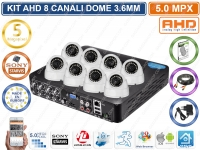 KIT VIDEOSORVEGLIANZA AHD 8 CANALIDOME 3.6MM 5MPX VIDEOANALISI HD 1000GB CLOUD