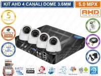 KIT VIDEOSORVEGLIANZA AHD 4 CANALIDOME 3.6MM 5MPX VIDEOANALISI HD 1000GB CLOUD