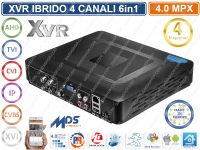 XVR DVR 6IN1 AHD CVI TVI CVBS XVI IP 4CH CANALI UTC 4MP CLOUD P2P UTC CONTROL