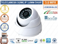 TELECAMERA IP DOME 3.6mm 3 MP ONVIF CLOUD H.265 VIDEOANALISI IR LED CLOUD XMEYE