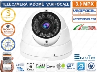 TELECAMERA IP DOME VARIFOCALE 2,8-12mm 3 MP ONVIF CLOUD H.265 VIDEOANALISI IP66