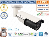 TELECAMERA IP 4 MP CON VIDEOANALISI VARIFOCALE 2,8-12mm ONVIF 42 IR LED IP66