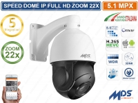 TELECAMERA IP HD-IP SPEED DOME CAMERA PTZ OSD 5 MPX ZOOM 22X 5.1 MEGAPIXEL IP66