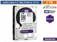 "HARD DISK HD 3,5"" SATA PURPLE 3000 GB 3TB 6Gb/s WESTERN DIGITAL WD30PURZ CCTV"