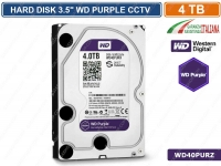 "HARD DISK HD 3,5"" SATA PURPLE 4000 GB 4TB 6Gb/s WESTERN DIGITAL WD40PURZ CCTV"