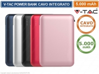 V-TAC VT-3510 POWER BANK PORTATILE 5000 MAH 1 USCITA USB 2,1A COLORI ASSORTITI