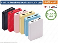 V-TAC VT-3503 POWER BANK PORTATILE 5000 MAH 2 USCITE USB 2,1A COLORI ASSORTITI