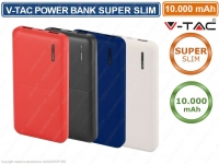 V-TAC VT-3518 POWER BANK PORTATILE 10000 MAH 2 USCITE USB 2A COLORI ASSORTITI