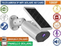 TELECAMERA IP WIFI 2MP PANNELLO SOLERE DA ESTERNO REGISTRA CLOUD SD CARD AUDIO
