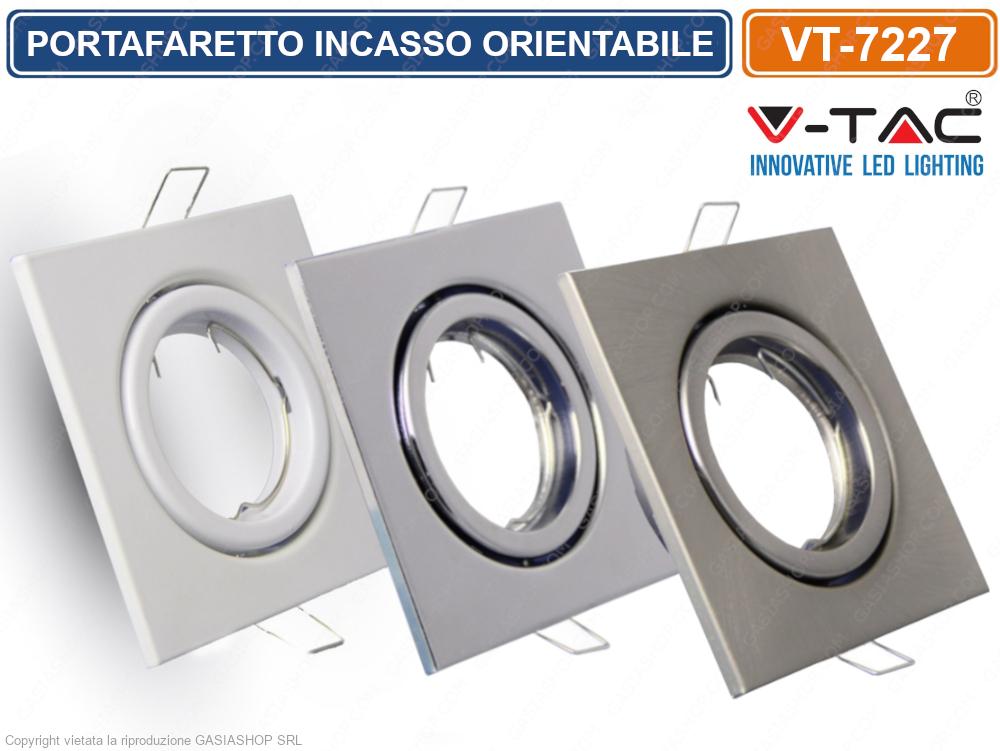 V-TAC VT-782SQ Portafaretto Orientabile Quadrato o Da Incasso Per Lampadine GU10 E GU5.3 SKU 3606
